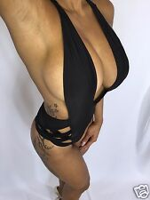 Black Hip Accent One Piece Bikini or Bodysuit Top size Runs small M Fits XS