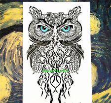 1 x temporary tattoo sticker sheet owl bird body art fancy dress mens ladies new