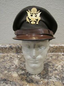 WWII US Army officers chocolate visor cap named to R.J. Wetterer, 36643037