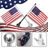 Motorcycle American USA Flag pole Luggage Rack Mount For Harley 2 color ~