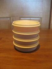 TUPPERWARE 4 sheer little wonder 6 oz snack bowls #1286 w/golden wheat lids