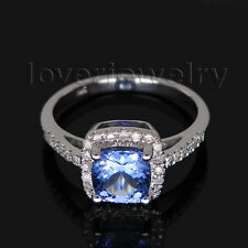 Jewelry Sets Cushion 6x6mm Solid 14Kt White Gold Diamond Blue Tanzanite Ring