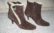 *Sexy* MASSIMO BALDI Suede Leather Fur Trim Ankle Side Zip Boots~Brown~Size 6.5