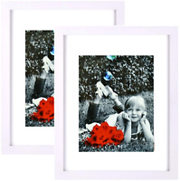 "(2-pack) 11x14"" White Picture Frame Black - GLASS FRONT - Displays 8x10 w/ Mat"