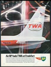 1966 TWA airlines 707 plane great color photo BP oil gas Euro vintage print ad