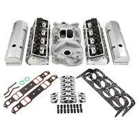 Chevy SBC 350 Hyd FT 220cc Angle Plug Cylinder Head Top End Engine Combo Kit
