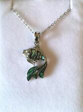 Beautiful Inlaid Abalone Shell Fish / Goldfish Necklace New in Box