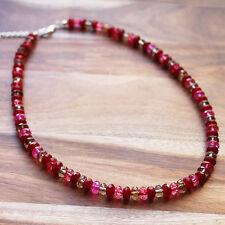 Semi-Precious Faceted Red Agate, Tourmaline & Smokey Quartz Stone Necklace