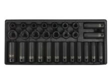 Sealey Tools Tool Tray DEEP & STANDARD Impact Socket Set 28pce 1/2 Drive Metric