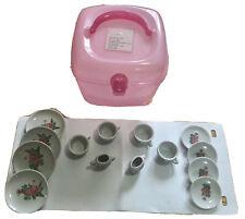 Vintage Childs Porcelain Tea Set-Floral 14 Pieces-w pink case-EUC
