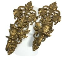 VINTAGE 2 Pc PAIR Gold BURWOOD Grapes WALL SCONCES Candle Holders HOLLYWOOD REG