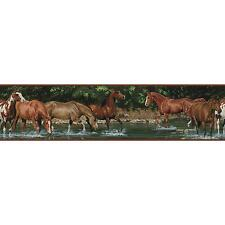 WILD HORSES BORDER self stick wallpaper room wall decor Farm Ranch Country