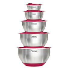 VIKING 10-Piece Covered Stainless Steel Mixing, Prep, & Serving Bowl Sets NEW