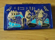 Egyptian Leather Wallet/Purse -Gold Embossed Ancient Egyptian Scene -BLUE - NEW