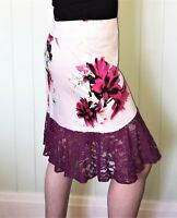 Pink & Mauve Lace Peplum Floral Pencil Skirt Size 16 New! ~EugeniaM Designs~