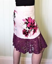 Pink & Mauve Lace Peplum Floral Pencil Skirt Size 14 New! ~EugeniaM~