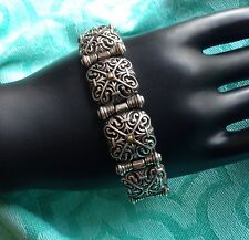 """BRIGHTON SILVER PLATED FRENCH QUARTER TILE HINGED TOGGLE BRACELET ~ max. 8.5"""" L"""