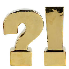 Urban Vogue Question Exclamation Bookend Gold Pair - Kih1037