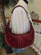 Coach Suede Leather Burgundy Hobo Shoulder Handbag F10935