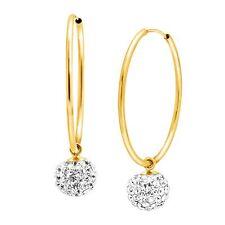 Earrings in 14K Gold Crystal Ball Drop Hoop