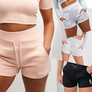 GYM KING Womens Designer Script Slim Fit High Rise Fleece Sweat Jogger Shorts