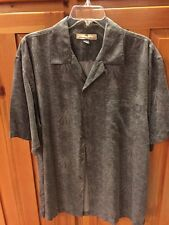 TOMMY BAHAMA 100% Silk Men's M Charcoal Gray Palm Button Front Shirt