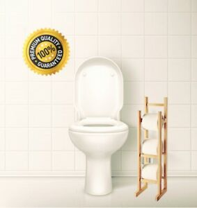Bamboo Wooden Free Standing Toilet Roll Storage Holder Tissue Paper Stand Rack