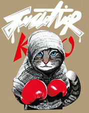 Aufbügler Transferfolie Katze Boxer boxen ca. 22 x 17 cm T-Shirt Bügelbild