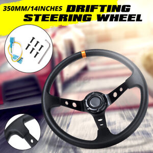 AU 14'' 350mm Deep Dish 3 Spoke 6 Bolt JDM Sport Racing Drifting Steering Wheel