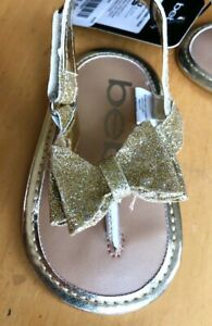 Bebe Baby Girls Gold Sparkle Bow Fashion Sandals- MSRP $32