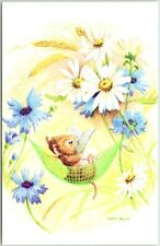 "Artist-Signed Racey Helps Postcard Mouse in Hammock / Flowers ""Marian Heath"""