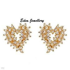 Wonderful HEART Earrings With 3.05ctw Cubic zirconia 14K/925 Gold plated Silver