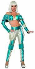 Space Warrior Queen Adult Women's Costume Metallic Blue & Silver XS/SM 2-6