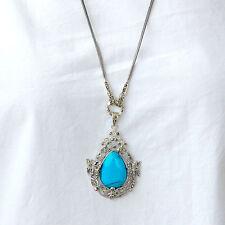 #C126  Long Collier Argent Massif 925 Stylé Vintage Turquoise & Marcassites