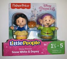 FISHER PRICE Little People Disney Princess Snow White & Dopey Figures NEW Toy
