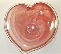 Vintage Lavorazione Arte Murano Italy Red Heart Bowl Swirl Art Deco Bowl
