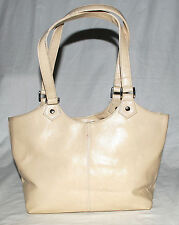 St John's Bay Cream Faux Leather Shoulder Bag with Multiple Pockets