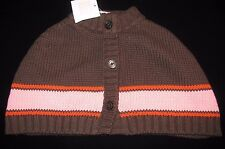 Janie & Jack AUTUMN CLASSICS Brown Striped Capelet Poncho Sweater Baby Girl 6-12