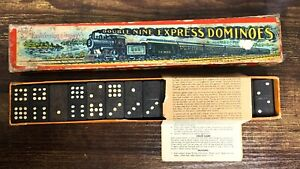 VTG Set of 51 Double Nine Express Dominoes in Original Box! Cool! 105