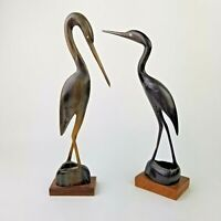 Pair of Vintage Water Buffalo Horn Hand Carved Crane Cranes MCM Decor Figurine