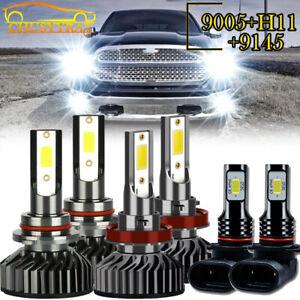 For 2016-2018 Dodge RAM 1500 2500 3500 Led Headlight Hi/Lo+Fog light Combo Bulbs
