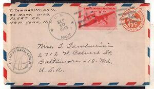 USA = WW2 1943 U.S. NAVY 6c Air Mail cover. Naval Censor cachet. . (Jy20qs)