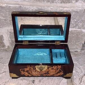 Vintage Asian Temple Trinket Box Jewelry Box Palace 8.5 x 10.5 x 9
