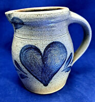 ROWE POTTERY WORKS vintage 1987 BLUE HEART PITCHER Salt Glazed Cambridge WIS.