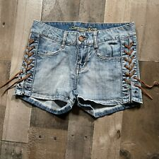 American Rag Cie Blue Denim Womens Size 3 Regular Solid Lace up Sides Hot Pants