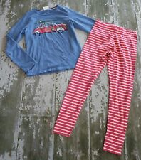 MINI BODEN Long Sleeve Blue Surf Car Graphic Shirt Striped Knit Leggings Set 11