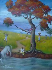 20 x 24 Original Painting by BERTHONY ST PHARD -HAITI-HAITIAN- PRIMITIVE