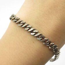 """Italy 925 Sterling Silver Hammered Men's Cuban Link Bracelet 7.5"""""""