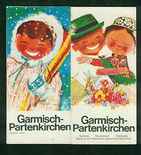 Prospekt Panoramakarten Garmisch-Partenkirchen Fotos Zeichnungen 1964
