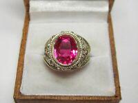 RARE Vintage Ring Ruby Corundum Silver 875 Elegant USSR Soviet Antique Size 9.5